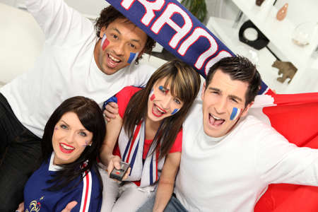 Young people supporting French sports team photo