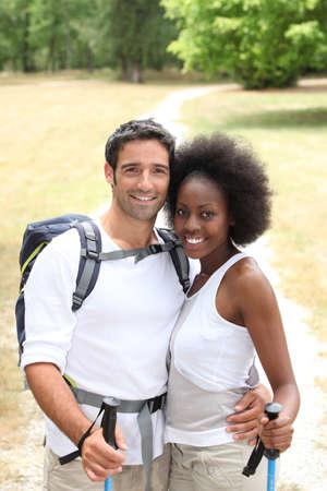 Couple hiking photo