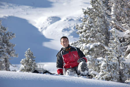 skiing accident: Man slipping on the snow