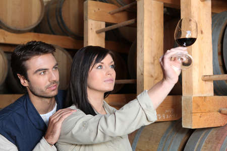 wine grower: Couple tasting wine in wine cellar