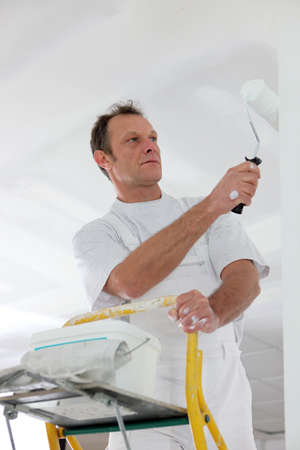 house coats: Man standing on a ladder and painting a wall
