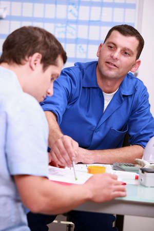 portrait of a contractor and client Stock Photo - 11823727
