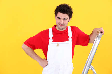 Decorator with a stepladder photo