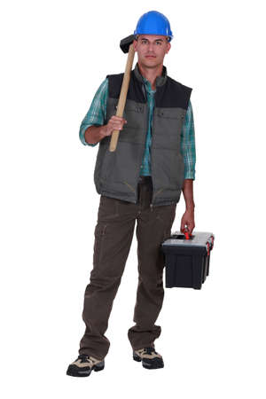 Portrait of a tradesman arriving at work Stock Photo - 11823127