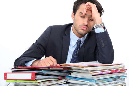 too much: Stressed young professional
