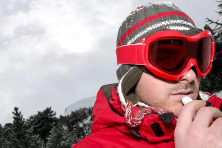 Closeup of a man in ski goggles photo