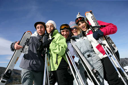 skiers: A group of friends on a skiing holiday