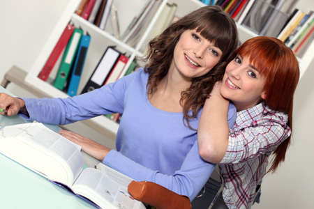 undergraduate: Friends studying together