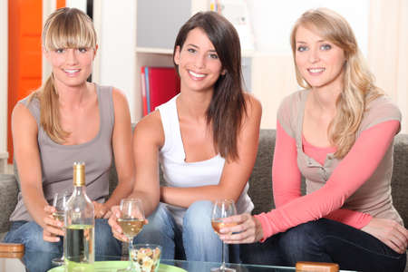 house party: Women having a drink together Stock Photo