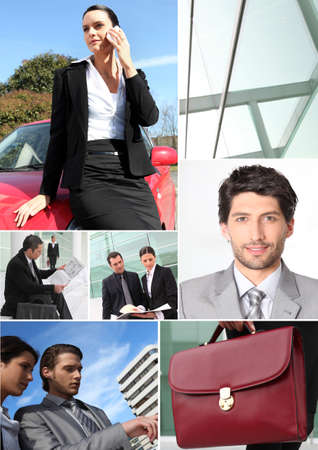 Business themed collage photo