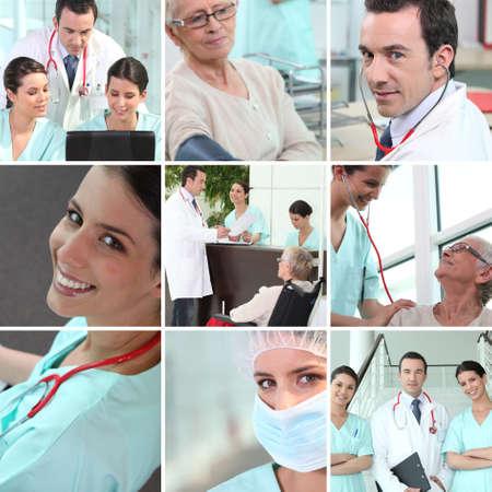 pacientes: Hospital de mosaico de personal Foto de archivo