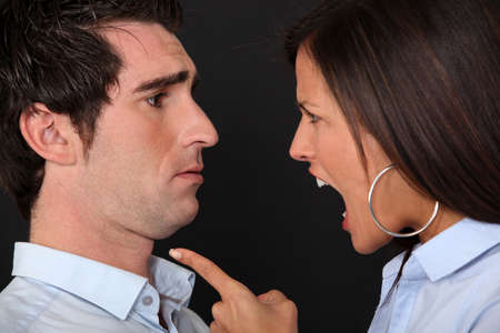 woman screaming: couple having a quarrel