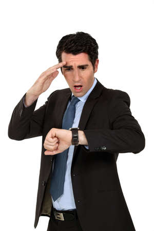 A man running late. Stock Photo