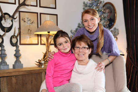 multi generational: Girl with her mother and grandmother