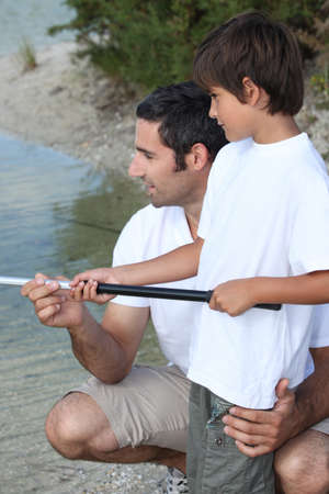 Father and son fishing Stock Photo - 11823729