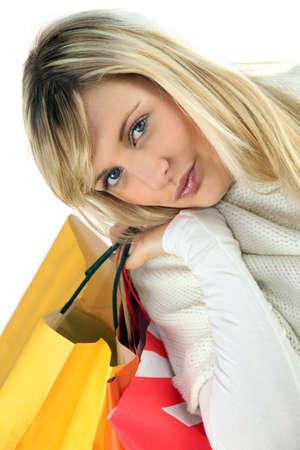 fair skinned: Portrait of a woman shopping
