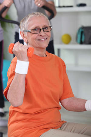 get a workout: senior woman getting in shape Stock Photo