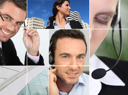 relation clients: un gestionnaire, vue sur la ville et les gens au t�l�phone Banque d'images