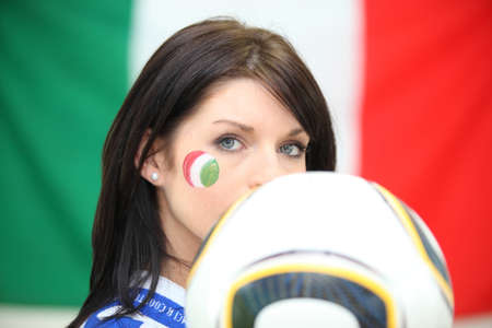 Female Italian football fan photo