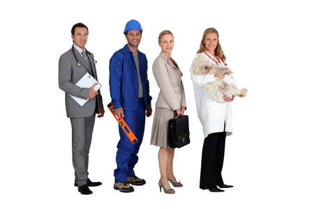 occupations: Profile photo of four professionals Stock Photo