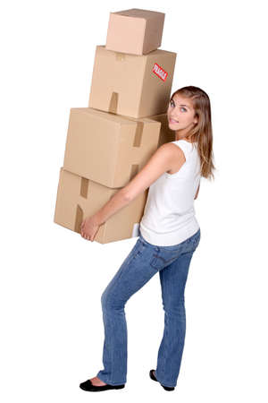 inexperienced: pretty girl moving out Stock Photo