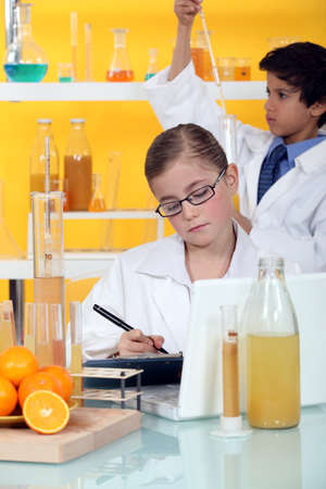 Two children in laboratory photo