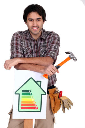 worker showing energy rating sign photo
