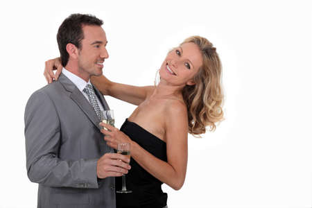 Couple with a glass of champagne photo