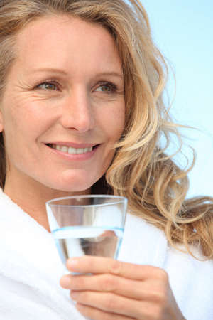 45: Woman with a glass of water Stock Photo