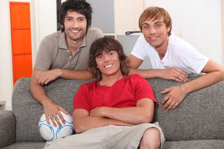 roommates: three roommates in their apartment Stock Photo