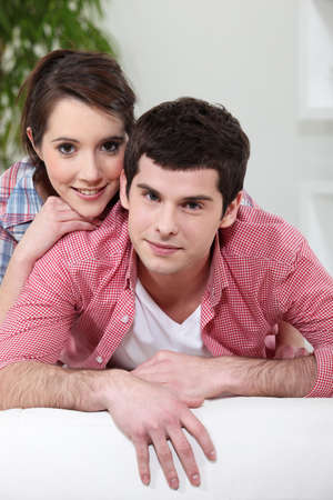 hairy arms: Portrait of a young couple at home