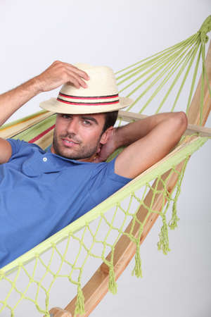 Man in a hammock photo