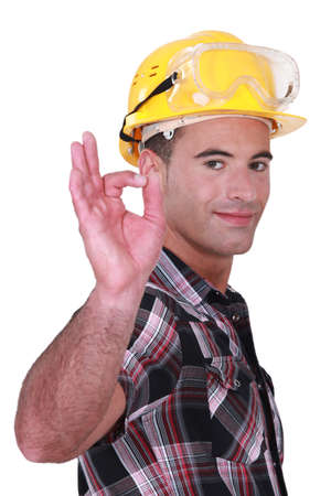construction safety: Builder suggesting everything is OK Stock Photo