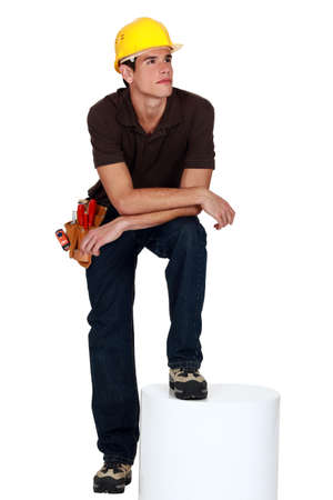 Manual worker most in his thoughts Stock Photo - 11842914