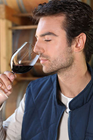 initiate: Man smelling red wine fragrances Stock Photo
