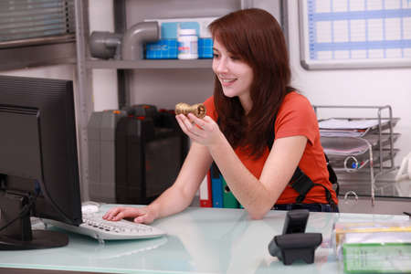 Woman ordering parts Stock Photo - 11842459