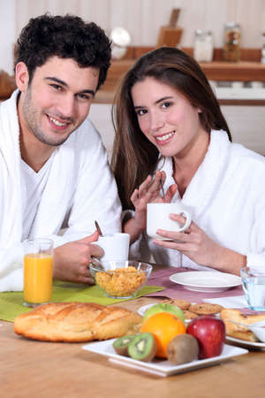 Couple eating breakfast Stock Photo - 11843393
