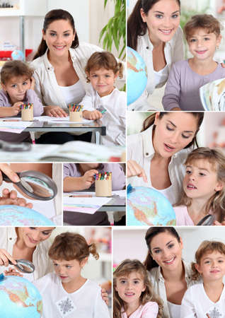 nanny: Baby-sitter and little girls doing homework Stock Photo