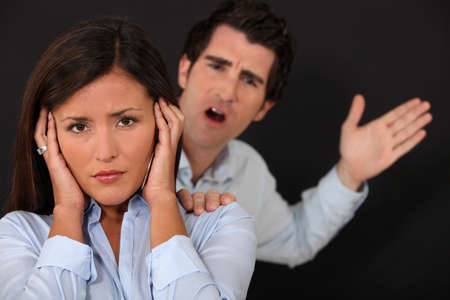 angry couple: Couple having argument