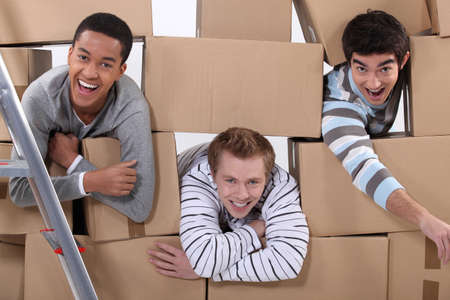 Three men moving house photo