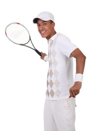 forehand: Tennis player practicing forehand shot Stock Photo