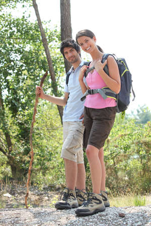 accomplices: couple hiking Stock Photo
