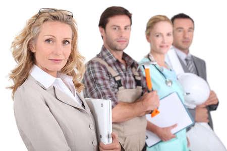 профессий: Посмотреть профиль из четырех специалистов из различных областей Фото со стока