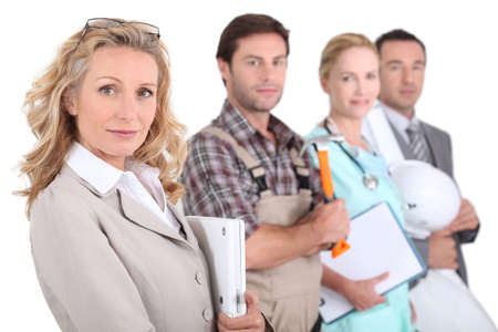 professions: Profile view of four professionals from different domains Stock Photo
