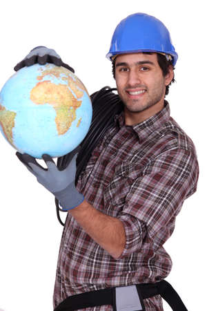 Electrician with a globe photo
