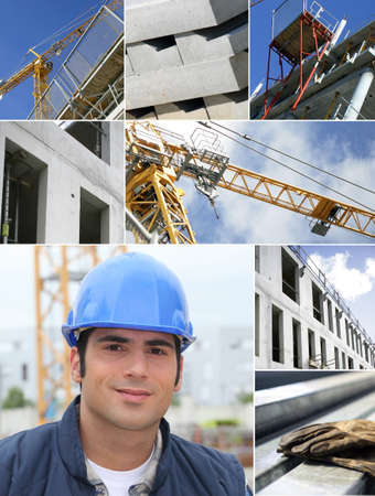 Construction works collage photo