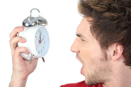 Man looking clock
