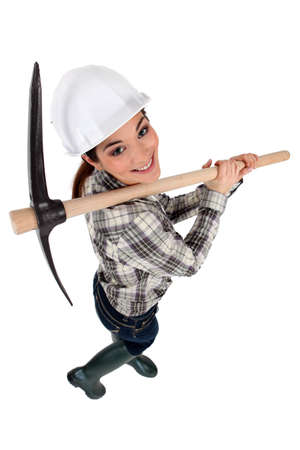 chirpy: Woman with a pickaxe