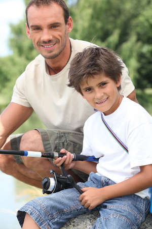 Father and son on a fishing trip photo