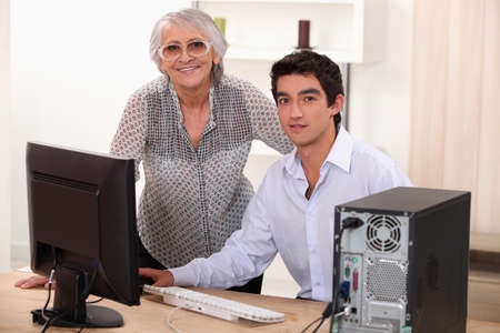 portrait of a grandmother and grandson Stock Photo - 11913591